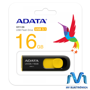 MEMORIA USB ADATA 16GB UV128 3.1 RETRACTIL NEGRO/AMARILLO