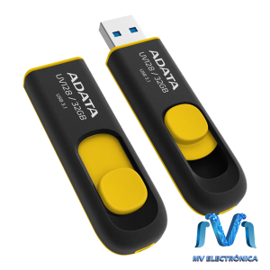 MEMORIA USB ADATA 32GB UV128 3.1 RETRACTIL NEGRO/AMARILLO