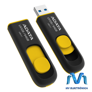 MEMORIA USB ADATA 64GB UV128 3.0 RETRACTIL NEGRO/AMARILLO