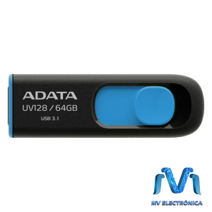 MEMORIA USB ADATA 64GB UV128 3.0 RETRACTIL NEGRO/AZUL