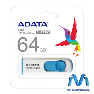 MEMORIA ADATA 64GB USB 2.0 C008 RETRACTIL  BLANCO/AZUL